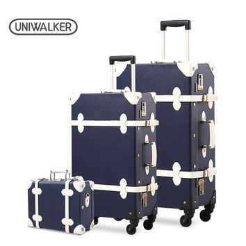 """3PCS/SET Vintage PU Travel Luggage,12""""make-up bag & 20"""" 26"""" Retro Trolley Suitcase Bags With Spinner Wheel With Combination Lock"""