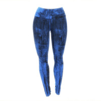 "CarolLynn Tice ""Deep Sea"" Blue Yoga Leggings"