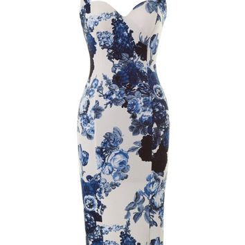 Heirloom Floral Print Midi Dress - Blue + White