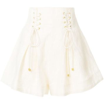 DCCKIN3 Zimmermann High-waisted Lace-up Shorts