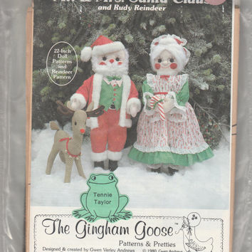 The Gingham Goose Sewing Pattern Mr and Mrs Santa Claus 22-inch Doll and Rudy Reindeer 13-inch Plush Christmas Holiday Decor by Gwen Andrews