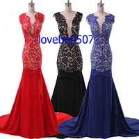 New Long Red Black and Blue Lace Evening Dress  Bridesmaid Dress Formal Dress Women Prom Dress Custom Dress stock
