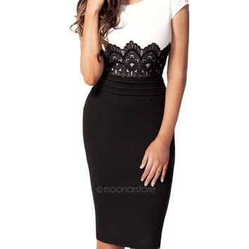 2015 Summer Style Dress Womens Celeb Style Floral Lace Contrast Party Bodycon Dresses PE1387*50