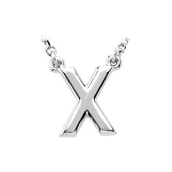 Block initial Necklace in Sterling Silver, Letter X