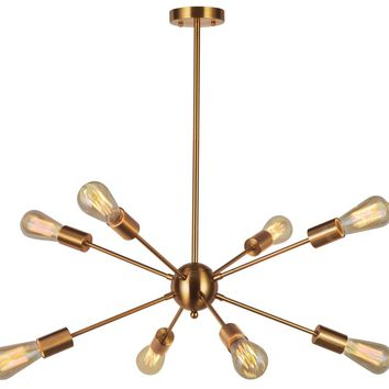 Sputnik Chandelier Light-VINLUZ 8 Lights Modern Pendant lighting Brushed Brass Mid Century Flush Mount Ceiling Light Fixture for Dining Room UL Listed