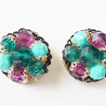 Vintage West Germany Cluster Earrings Green Turquoise Purple Glass Beads Goldtone Jewelry