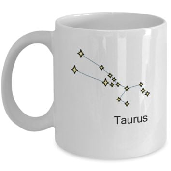 Taurus Zodiac Name Constellation Coffee Mug White Unique Large Big White Coffee cup-Stars Appear in the White Sky-11 OZ-Ceramic-Gifts for Birthday,Christmas-Taurus - 11 OZ Funny Coffee mugs tea cup Gift Ideas White Coffee mugs