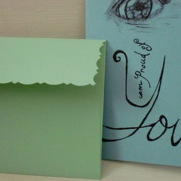 I Proud of You Blue Card with Green Envelope Original Eye Sketch
