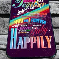 one direction happily quotes for iPhone 4/4s, iPhone 5/5S/5C/6, Samsung S3/S4/S5 Unique Case *76*