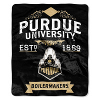 Purdue Boilermakers NCAA Royal Plush Raschel Blanket (Label Series) (50x60)