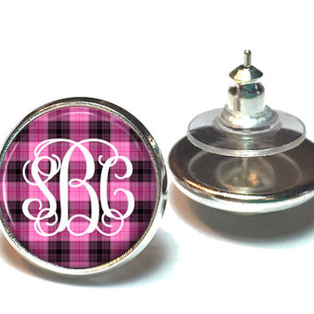 Monogram Earrings Pink and Black Plaid, Stud Earrings, Monogram Jewelry  (622)