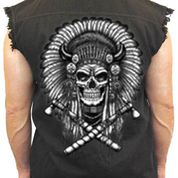 Men's Sleeveless Denim Shirt Warrior Native Skull