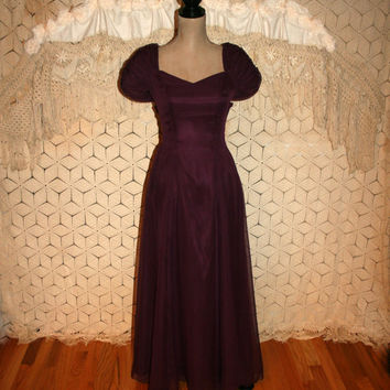 Vintage 80s Formal Dress Purple Prom Dress Puff Sleeve Chiffon Plum Purple Formal Short Sleeve Big Bow Sweetheart Size 2 XS Womens Clothing