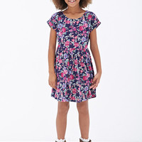 FOREVER 21 GIRLS Cutout Crossback Floral Dress (Kids) Navy/Pink