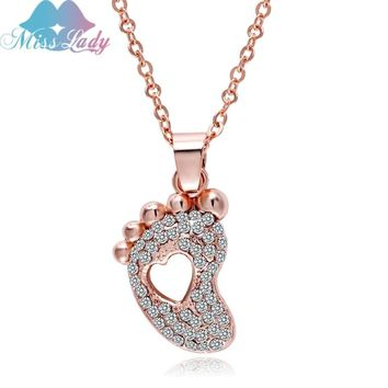 Stunning rose gold full rhinestones heart foot necklace