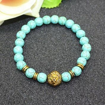 8mm Natural Turquoise Stone Beads Bracelet for Women,Antique Silver and Gold Lion/Buddha/Leopard/Skull Bracelets Mens Jewelry vintage gold lion