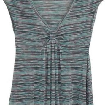 DKNY Grey And Turquoise V Neck Knot Sleeveless Sheer Size M Casual Striped Mesh Empire Waist Top 64% off retail