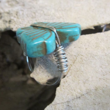 Handmade,Wire Wrapped Ring,Turquoise Jewelry,Wire Jewelry,Butterfly Ring