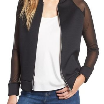 Missguided Mesh Sleeve Bomber Jacket | Nordstrom