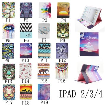 For Apple iPad 2/3/4 Painting Print Flip PU Leather Case Tablet Cover with Wallet Card Holder