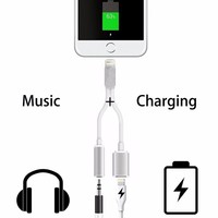 2 in 1 adapter for iPhone 7 Lightning Cable to 3.5 mm Aux Audio Headphone Jack Connector Cable for iPhone 7 Plus 6S 6 iPad Case