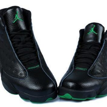 Cheap Air Jordan 13 Retro Men Shoes Black Green White