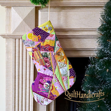 Christmas stocking Quilted Patchwork Christmas décor Style crazy Christmas boot in pink colors Unique gift Holiday home decoration Custom