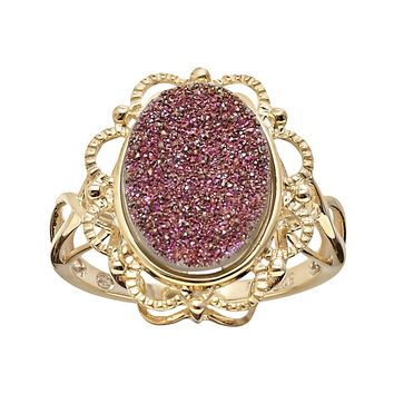 18k Gold Over Silver Drusy Ring (Pink)