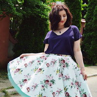 Women Cotton Full Vintage Roses Skirt, Garden Party, Rehearsel Dinner