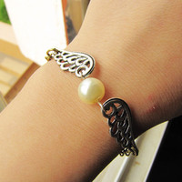 Vintage Style Silvery Wings with Pearl Women Girl by braceletcool