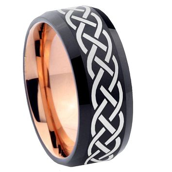 8mm Celtic Knot Bevel Tungsten Carbide Rose Gold Men's Ring