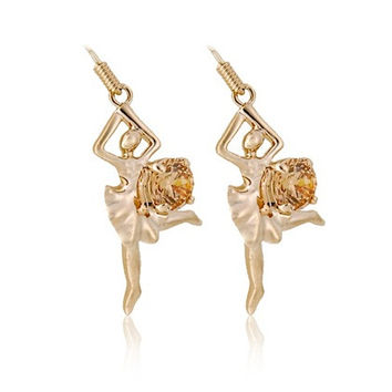ITALINA Ballet Dancing Girl Shaped RGP Ear Hook Eardrops (Gold)