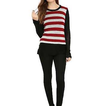 Royal Bones By Tripp Black White & Red Striped Reversible Sweater