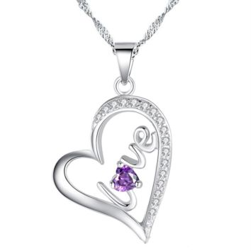 "Heart ""Love"" sterling silver necklace with amethlyst-best seller"