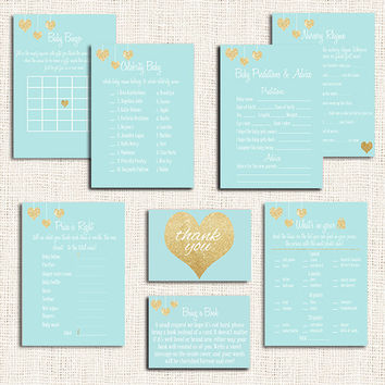 Gold and Turquoise  Blue Baby Shower Games Choose ANY 5 Items Baby Shower Price is right Celebrity baby Baby bingo Nursery rhyme etc Digital
