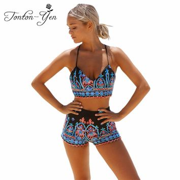 2018 Summer Vintage Print Tankinis Set High Waist Women Swimwear Push up Bathing Suit Girls Plus Size Swimsuit Shorts Bikinis