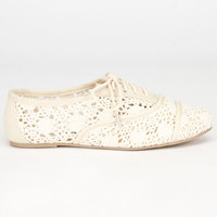 Soda Crochet Girls Oxford Shoes Beige  In Sizes