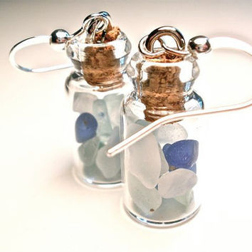 Sea Glass Earrings in Multicolor Blues by OddsAndEndsByKaley
