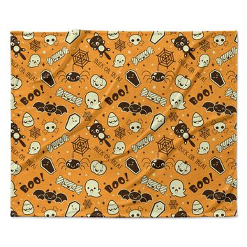 "KESS Original ""All Cute Halloween"" Orange Pattern Fleece Throw Blanket"