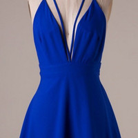 Elegant Evening Dress - Electric Blue