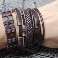 2018 new Men's Bracelets Punk Leather Weave Black Multilayer Adjustable Man Jewelry Vintage Bracelets & Bangles Dropshipping