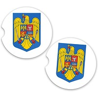 Romania World Flag Coat Arms Sandstone Car Cup Holder Matching Coaster Set
