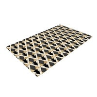 "Nika Martinez ""Glitter Triangles in Gold & Black"" Geometric Woven Area Rug"