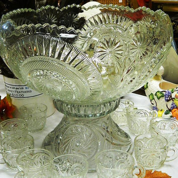 Early American Pressed Glass, EAPG Slewed Horseshoe Punch Bowl, Base and Cups C 1908, Gorgeous Punch Bowl Set, Holiday Entertaining