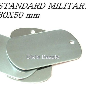 10 stainless steel metal Dog Tags, military Size 50x30, dogtag stamping blank, for laser engraving, Jewelry Pendant, pet tag, blank dogtag