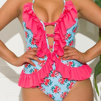 Cocoa Cove One Piece Swimsuit Hot Pink And Blue