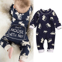 ( Dont Moose with Me! ) Moose Themed Romper Onesuit Sleeper