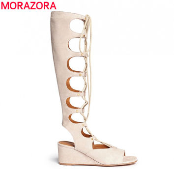 MORAZORA 2017 fashion Brand genuine leather shoes wedges high heels Gladiator women sandals lace up sexy knee high summer shoe
