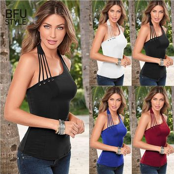 2017 Sexy Halter Tank Top Women Casual Black White Camisole Female Sleeveless Summer Tops Plus Size XXL Basic Backless Tee Tops