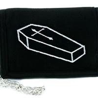 Funeral Coffin with Cross Tri-fold Wallet w/ Chain Occult Clothing